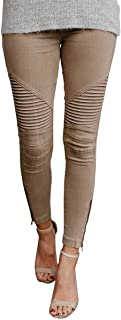 chimikeey Womens Moto Jeggings Ankle Zipper Skinny Pleated Stretch Mid Rise Pencil Pants with Pockets