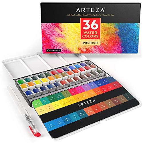 Arteza Estuche de pinturas de acuarela | 36 medias pastillas | 36 Colores surtidos | Incluye 1 pluma de pincel de agua