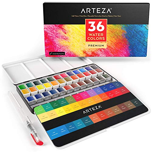ARTEZA Watercolor Paint, Set of 36 Assorted Vibrant Colors in Half Pans (in Tin Box) with Water Brush Pen for Artists, Art Painting, Ideal for Watercolor Techniques