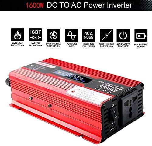 1200W 1600W 2200W 2400W Auto Power Inverter Steckdosen, DC 12 / 24V zur Wechselstrom-110V-230V Spannungswandler Inverter mit Socket und LCD-Anzeige for Auto-Ladegerät-Adapter mit USB-Konverter, 24V-.