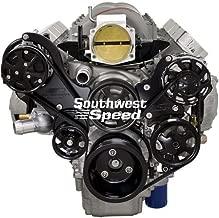NEW BILLET SPECIALTIES BLACK ANODIZED TRU-TRAC CHEVY LS7 FRONT ENGINE KIT WITH EDELBROCK WATER PUMP, ALTERNATOR, POWER STEERING PUMP, A/C COMPRESSOR, ATI SUPER DAMPER, BLACK SERPENTINE PULLEYS, & BLACK BRACKETS, CHEVY LS 7 ENGINES