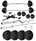 Kore PVC 12 kg Combo 343 WB-WA Home Gym Set with 3 ft Plain Rod and 3 ft Curl Rod and One Pair...