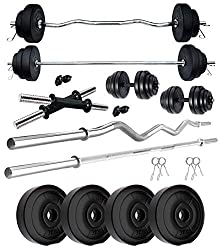 Kore PVC 12 KG Combo 343 WB-WA Home Gym Set with One 3 Ft Plain Rod & One 3 Ft Curl Rod and One Pair Dumbbell Rods,KUSHAL RUBBER INDUSTRIES - PJ,-