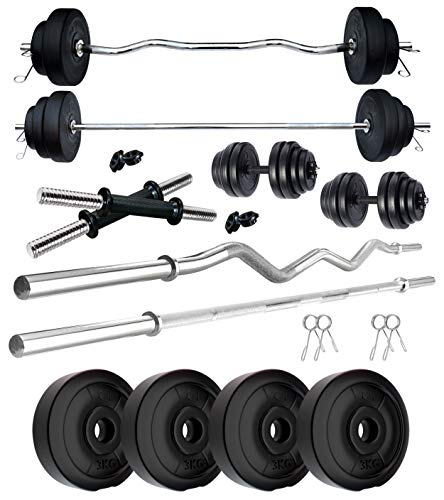 Kore PVC 12 KG Combo 343 WB-WA Home Gym Set with One 3 Ft Plain Rod & One 3 Ft Curl Rod and One Pair Dumbbell Rods