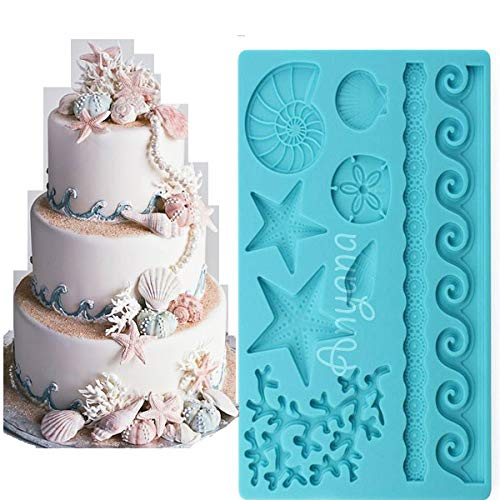 Anyana Sea Shell starfish conch coral Silicone Fondant Mold for Cake Decoration Chocolate Candy Mold Soap Mold Baking Tool Jello Mold edible Non stick easy to use