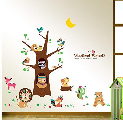 Tribal animal joie arbre dessin animé stickers muraux ours lion renard hibou art décoration de la maison enfants chambre chambre salon décalque amovible