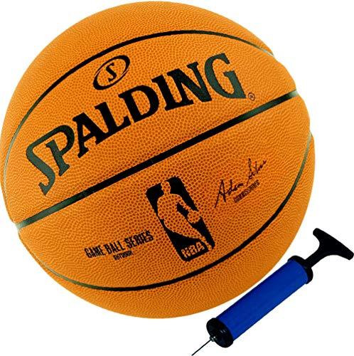 Spalding Basketball Outdoor Ball Replica Game Ball der NBA Größe 7 + Ballpumpe
