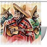 Cortina de ducha con ganchos, divertido vestido de mono mexicano tocando la guitarra, cortinas de tela de baño, impermeable, divertidas con tamaño estándar 72 por 72