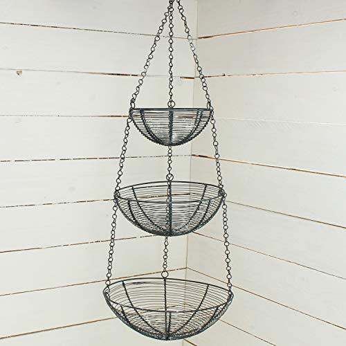 Macosa SA02380 hangmand 3 TLG. Grijze draadmand, landelijke stijl, 3 opbergmanden voor de keuken, hangmand, keuken, fruitmand, decoratieve mand om op te hangen