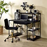 """Henf Home Office Computer Desk, 47"""" Writing Study Desk PC Laptop Gaming Table with 1 Drawer & 8 Open Compartments for Study Room, Bedroom, Living Room or Home Office Desk (Black)"""