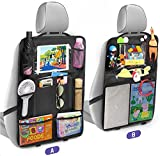 Tsumbay Car Back Seat Organisers, 2 Pack Car Organizer with 10' Touch Screen Tablet Holder, 14 Storage Pockets Car Seat Protectors, Waterproof Backseat Kick Mats, Car Accessories for Family Road Trip