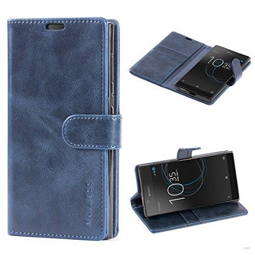 Mulbess Handyhülle für Sony Xperia L1 Hülle, Leder Flip Case Schutzhülle für Sony L1 Tasche, Dunkel Blau