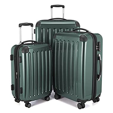 HAUPTSTADTKOFFER Luggages Sets Glossy Suitcase Sets Hardside Spinner Trolley Expandable (20', 24' & 28') TSA (Darkgreen)