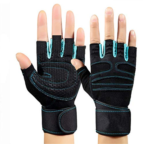 KXIN Männer Und Frauen Hantel Armband rutschfeste Handschuhe, Ausrüstung Krafttraining, Atmungsaktive Anti-Rutsch-Sport Fitness Halbfinger-Handschuhe,Blue,L