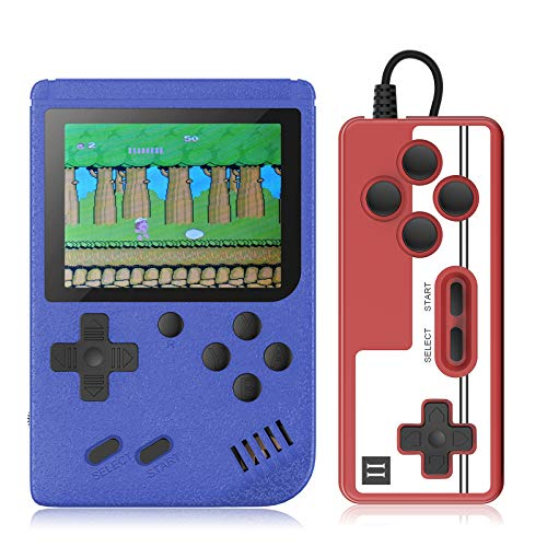 Handheld Game Console Retro Mini FC with 500 Classical Portable Game Big Screen Support on TV & Two Players- 90s/Exercise Intelligence for Kids and Adult Birthdays Gift(Red) (Blue)