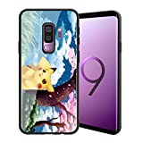 for Galaxy S9, Pocket Monsters 196 Design Tempered Glass Phone Case, Anti-Scratch Soft Silicone Bumper Ultra-Thin Galaxy S9 Cover for Teens and Adults