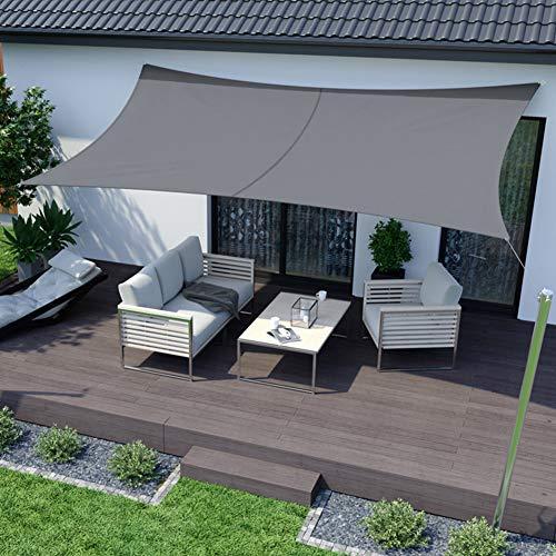 RATEL Sonnensegel 3x4 m graues Rechteckig, Wasserdicht Windschutz mit 95{b65cc4e35b7b9b7ab9f74d2461948466209850fa2da33d94c77cd6010f604af9} UV Schutz Sonnenschutz für Draußen, Patio, Garten Terrasse Camping