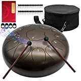 MTC 12 Inch Ethereal Drum 13 Note Steel Tongue Drum Percussion Instrument Hand Pan Drum with Drum Mallets Travel Bag,Applicable to Music Education, Yoga Meditation