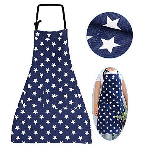 MEJOSER Sterne Schürze mit Tasche Verstellbare Kochschürze Küchenschürze Latzschürze Grill Bakcen Damen Schürze für Frauen Kochen Arbeit Hausarbeit (Dunkelblau)