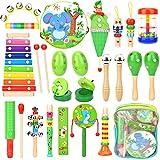 Victostar Instrumentos Musicales con Mochila 15 Tipos 21PCS Juguetes Musicales de Madera para Bebés Instrumentos de Percusión Rítmica para Regalo Educativo para Niños Pequeños