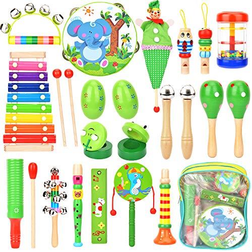 Victostar Kinder Musikinstrumente Musical Instruments Set,21 Stück Holz Percussion Set Schlagzeug Schlagwerk Rhythm Toys Musik Kinderspielzeug für Kleinkinder und Baby