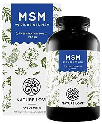 NATURE LOVE® MSM Kapseln - 365 Kapseln (6 Monate). Laborgeprüft. 1600mg MSM Pulver je Tagesdosis. Organischer Schwefel. Hochdosiert, vegan, in Deutschland produziert