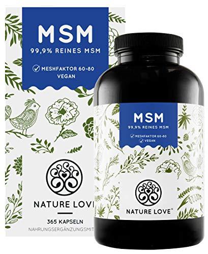NATURE LOVE® MSM Kapseln - 365 Kapseln (6 Monate). Laborgeprüft. 1600mg MSM Pulver je Tagesdosis. Organischer Schwefel. Hochdosiert, vegan, hergestellt in Deutschland