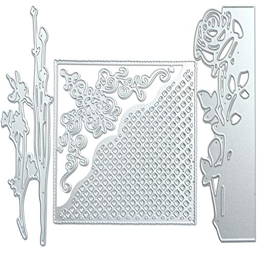 CKANDAY 3 Pack Metallic Cutting Dies,3D Embossing Die Stencil Mould Nesting Template for DIY Scrapbooking Album Decorative Letter Paper Card Craft Making Machine,Rose/Flower/Gift Card Shape