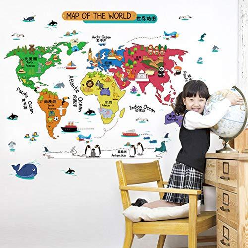 92 * 60 cm Stickers muraux monde enfants couleur décoration maison vinyle Stickers muraux chambre d