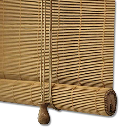 ZY Blinds Bamboo Window Blinds, Light Filtering Roll Up Blinds with Valance, 55' W x 36' L, Pattern 2