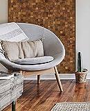 wodewa Paneles de Madera Autoadhesivo para Pared Nogal 30 x 30cm Mosaico Revestimiento de Paredes 3D Panel Decorativo Madera Interior Sala de Estar Cocina Dormitorio Mural