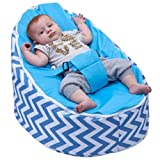 BayB Brand Bean Bag for Babies and Toddlers - Filled and Ready for Use (Blue Chevron)