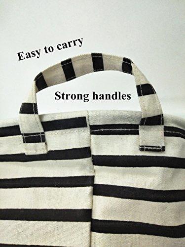 CLOCOR Large Storage Bin-Cotton Storage Basket-Round Gift Basket with Handles for Toys,Laundry,Baby Nursery (Black Stripe)