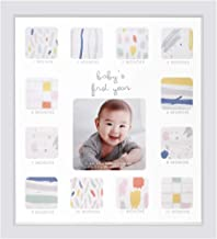 "Collage Photo Frame for Baby First Year Keepsake - 12 Months Picture Frames with Twelve 1.8"" and One 4"" Slots for Baby Present Memory Home Decoration, 12 x 13 inches (White)"