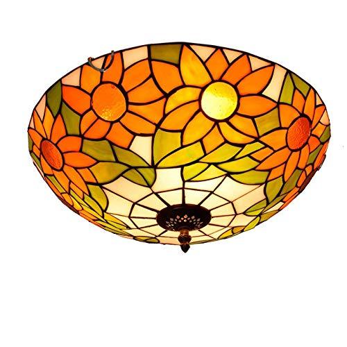 HOUTIAXDYT Luz de Techo de Cristal de la Flor del Sol de 16 Pulgadas, lámpara Colgante Pastoral Europea de Estilo Tiffany para Dormitorio, Pasillo, balcón, Entrada, Accesorios de Hierro