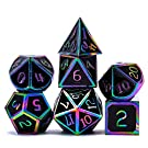 DND Metal Dice Set Role Playing 7PCS Dungeons and Dragons Dice Pathfinder RPG Games DND Dice ,Metal dice Set d&d(Black)