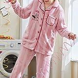 Handaxian El Pijama de Invierno para Mujer más la Franela Gruesa de Terciopelo se Puede Usar Fuera de la Chaqueta de Punto cálido Coral Polar