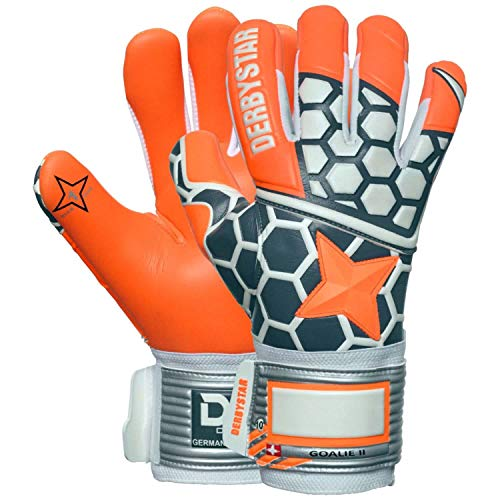 Derbystar Kinder Goalie II Handschuhe, orange Gruen Weiss, 4