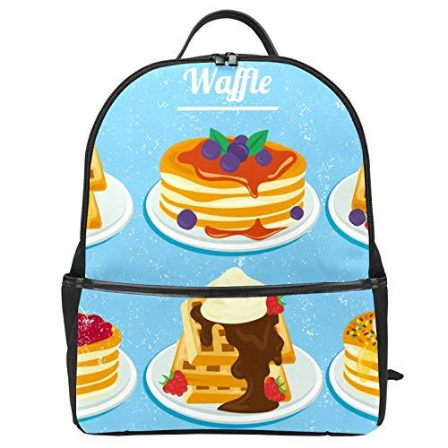 Schulranzen mit Erdbeer- und Blaubeer-Honig-Waffeln in Wasserfarben, Rucksack, Segeltuch, große Kapazität, lässiger Reise-Tagesrucksack für Kinder, Mädchen, Jungen, Kinder, Studenten