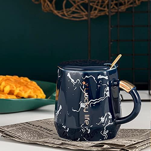 Heliansheng Cerámica de mármol Creativa con trazado de Oro Taza Artesanal Oficina de Moda Taza de café Taza de Desayuno -azul-301-400ml
