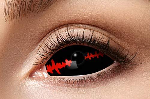 Eyecatcher 84091541.s23 - Farbige Sclera Kontaktlinsen, Schwarzer Stich, Farblinsen, 6 Monate, weiche Linsen, ohne Sehstärke, 2 Stück, Motivlinsen, Halloween, Karneval, Fasching