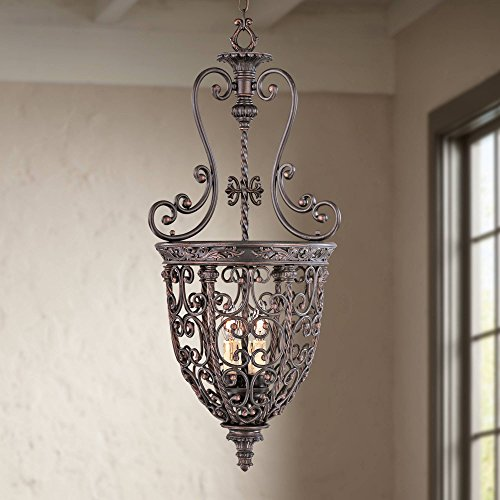 French Scroll Rubbed Bronze Pendant Chandelier 15 1/4' Wide Rustic Country Iron 3-Light Fixture for Dining Room House Foyer Kitchen Island Entryway Bedroom Living Room - Franklin Iron Works