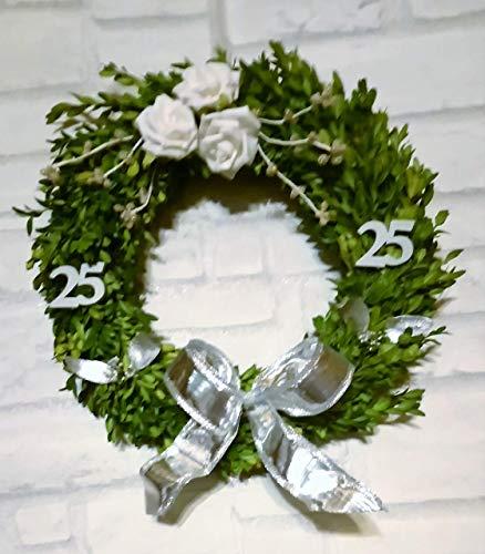 Buchsbaumkranz II silber Hochzeit, Jubiläum frisch in 3 Größen