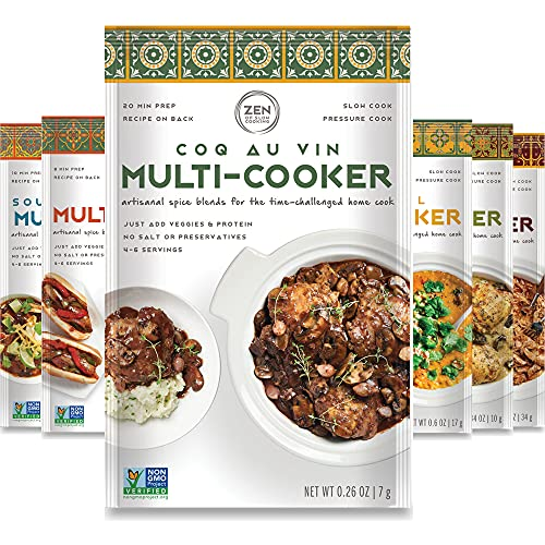 Gourmet Spice Blends for Home Cooking (Sampler Pack of 6) Seasoning Pack For Instant Pot, Crock pot, Slow Cooker, and One Pot Meals - Non GMO, Low/No Salt, Gluten Free, Keto Friendly Seasoning, Paleo