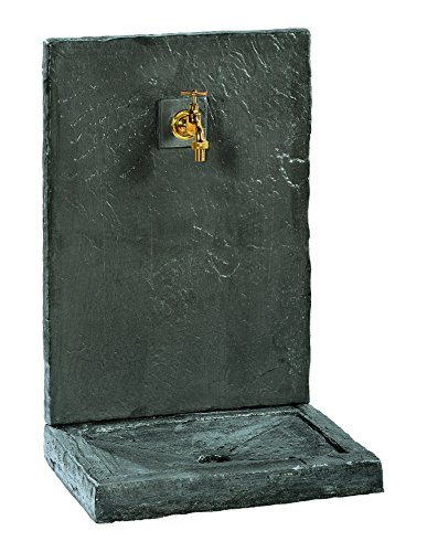 Fontaine Murale 74Cm Gm Ardoisee Noire Pierre Reconstituée 017230