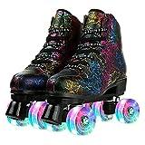 Roller Skates for Women and Men Cowhide High-Top Shoes Classic Double-Row Roller Skates Four-Wheel Roller Skates for Men Girls Unisex (Black flash round,44)
