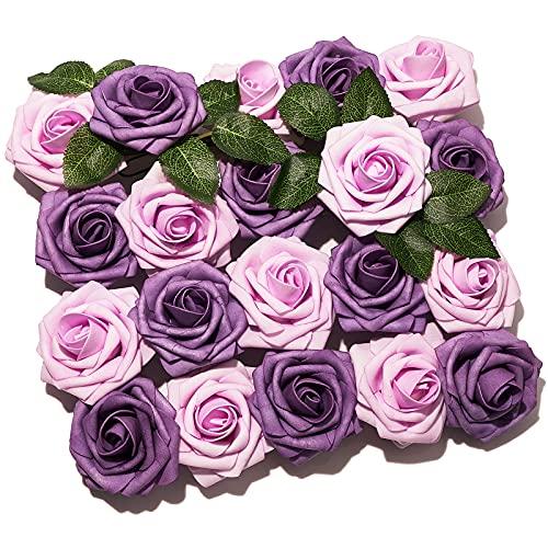 PartyWoo Flores Artificiales, 20 Piezas de Rosas Artificiales con Tallos, Flores Falsas, Flores Espuma, Flores Morado Artificiales para Decoración, Decoración Bodas, Decoración Habitaciones (Morado)