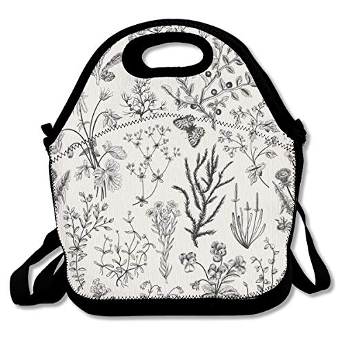Lcokin Thermal Insulation Lunch Bag Herbs and Wild Flowers Botanical Personal Handbag Lunch Bag Outdoor Picnic Food Bag for KidsWomen and Men