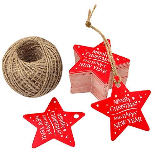 100 Stück Weihnachten Geschenk Anhänger, 50 Paare Etiketten Tags, 6 CM* 6 CM Hängeetiketten mit 30 Meter Jute-Schnur für Weihnachtsgeschenke, Handwerk etc - Sternförmig