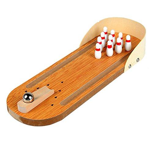 Demiawaking Baby Kinder Mini Tischtennis Bowlingspiel Set Holz Bowling Alley Zehn Metall Pinball Tisch Spielzeug